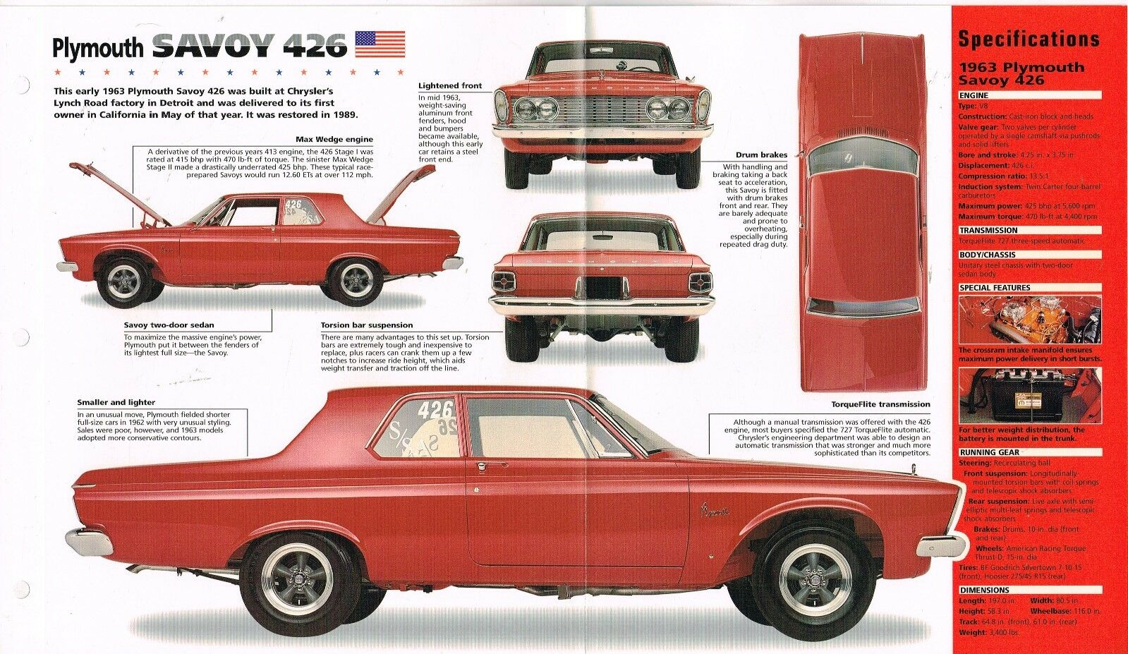 1963 Plymouth Savoy 426 Wedge Spec Sheet Brochuremopar 1299 1964 Dodge 330 Max 1 Of 2only 2 Available