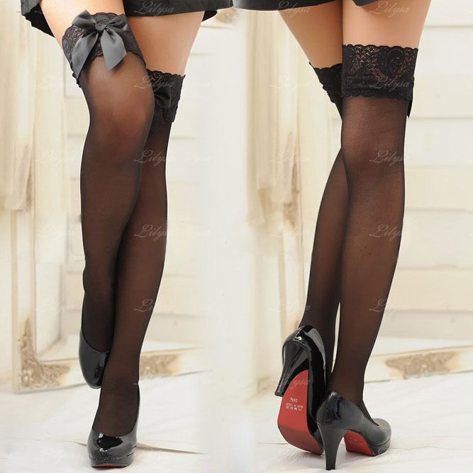 Sexy Black/White Silk Thigh High Stockings tights with bow lace