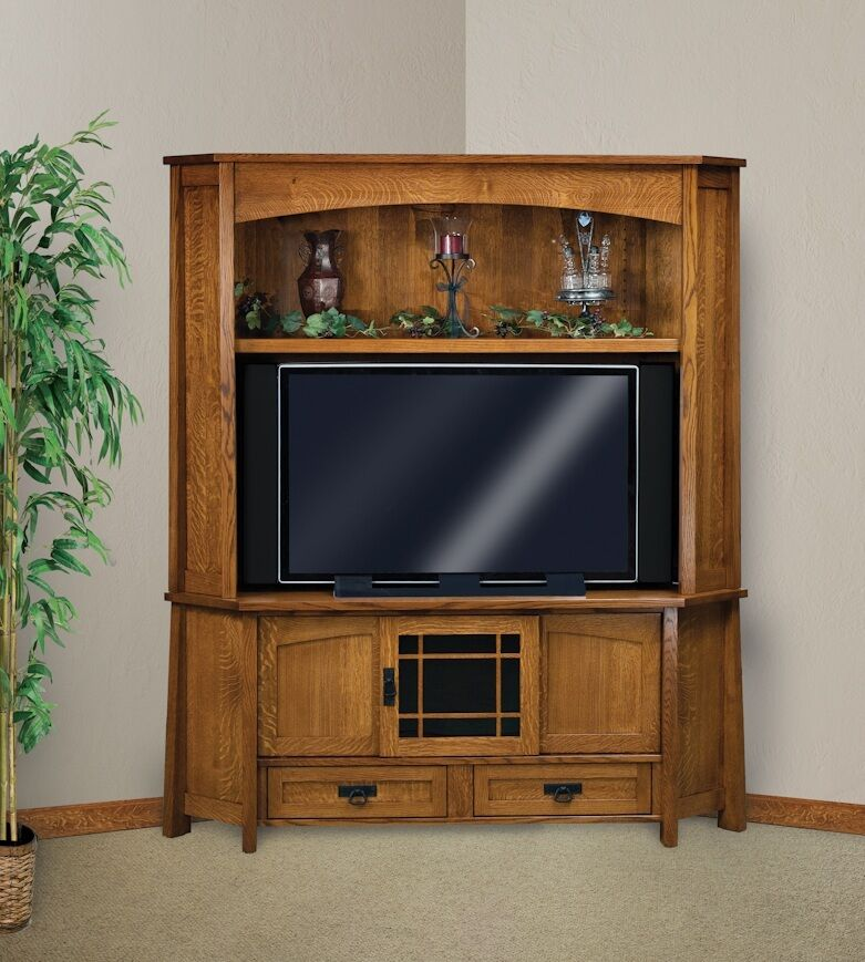Amish corner entertainment center solid oak wood media Wood entertainment center