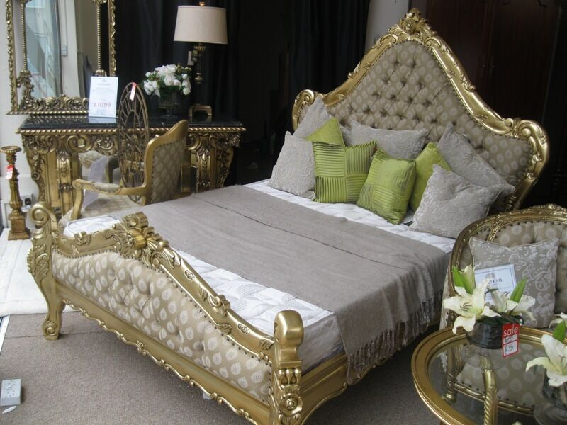 Large Boudoir Grand Italian Gold Leaf Ornate French Gilt SUPER KING Size Bed
