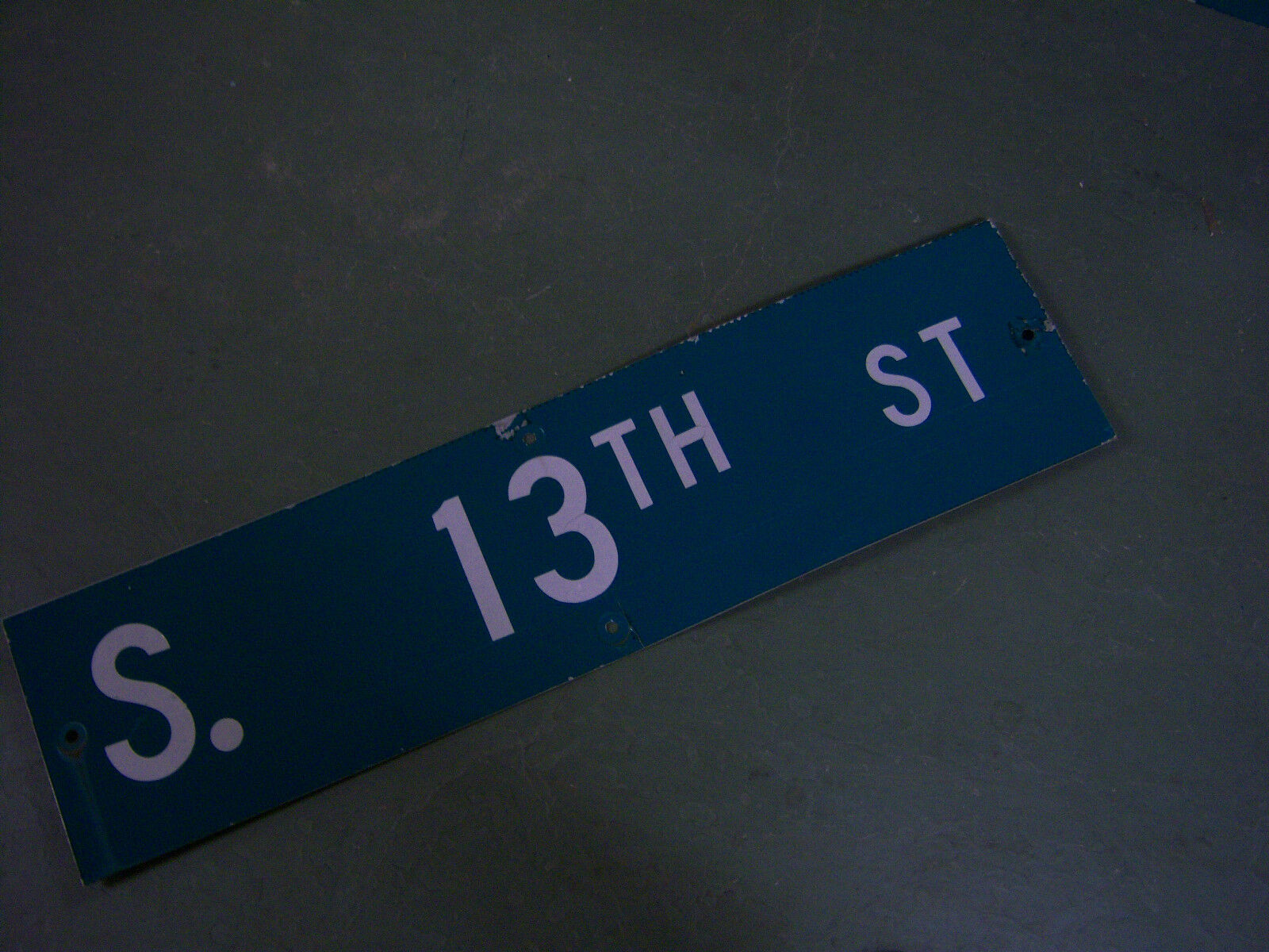 """Vintage ORIGINAL S. 13TH ST STREET SIGN 36"""" X 9"""" WHITE LETTERING ON GREEN"""