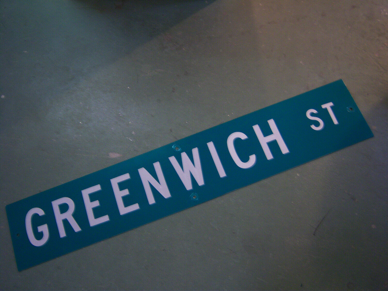"Large Original Greenwich St Street Sign 48"" X 9"" White Lettering On Green"