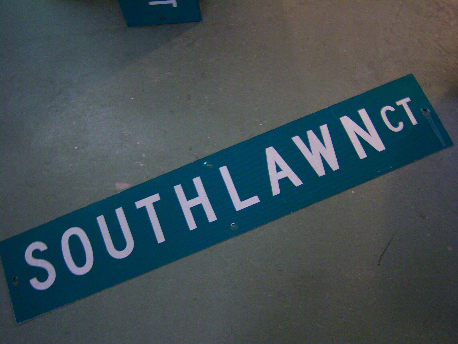 """Large Original Southlawn Ct Street Sign 48"""" X 9"""" White Lettering On Green"""