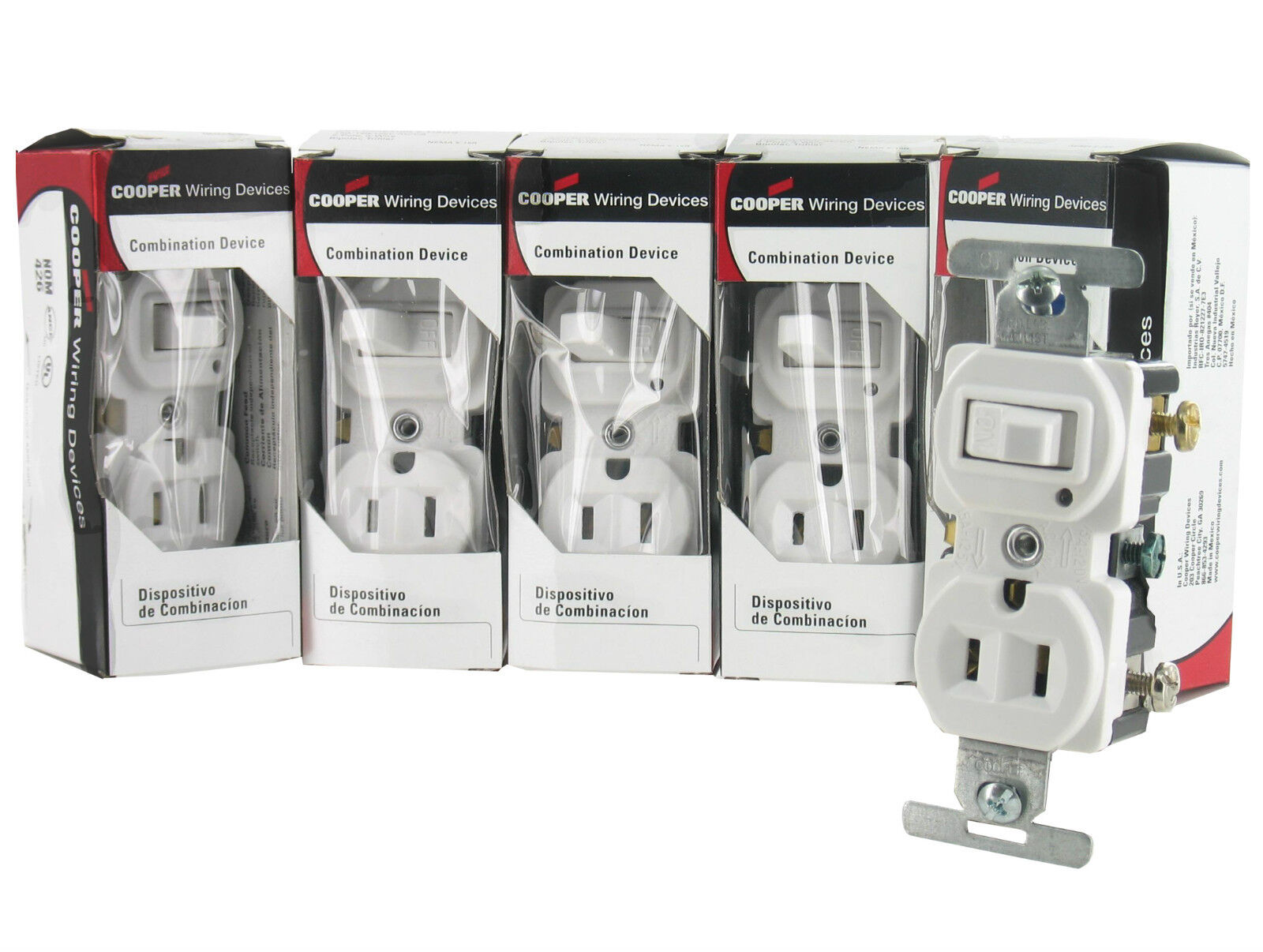 LOT 5 COOPER 274 White Combination Toggle Switch NEMA 5-15 Outlet ...