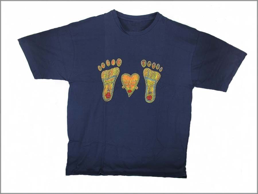HAND BEADED & PAINTED FEET & HEART T-SHIRT BLUE - Large . reflexology . design 2