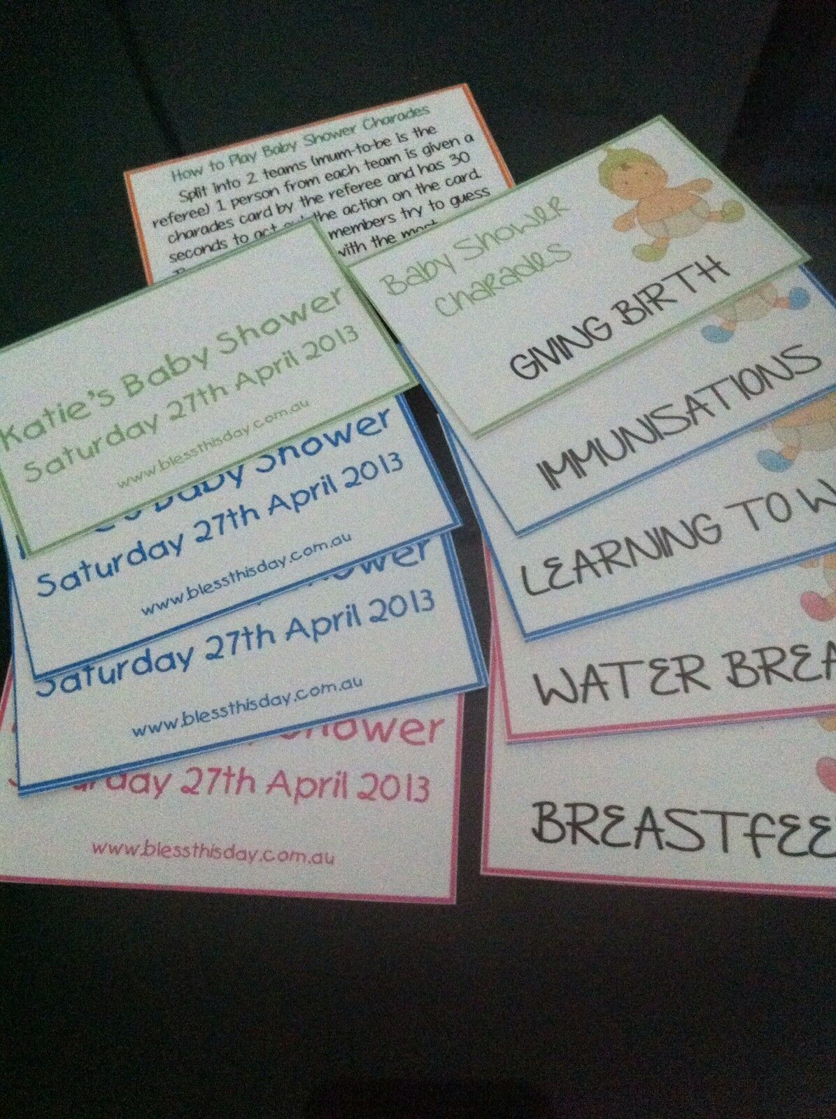 baby shower game baby charades personalised 20 guests aud 7