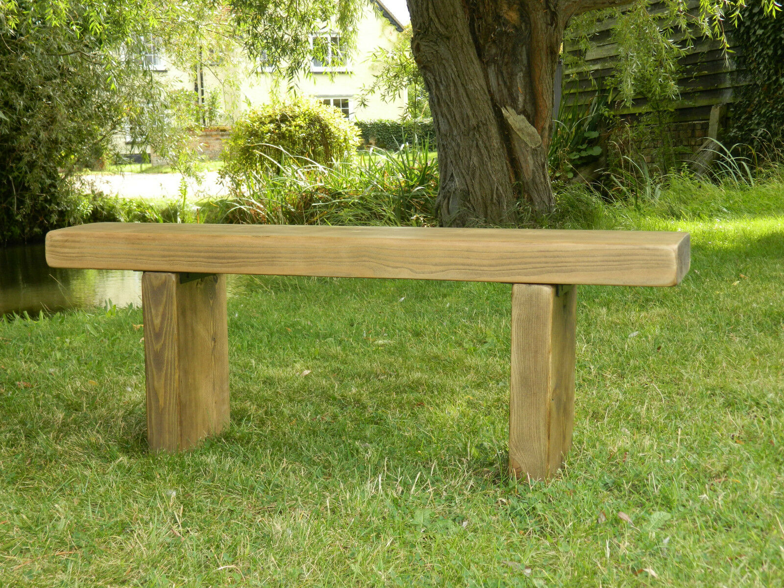 Solid Wood Garden Bench Chunky Rustic Pine Farmhouse Wooden Dining Seat Picclick Uk