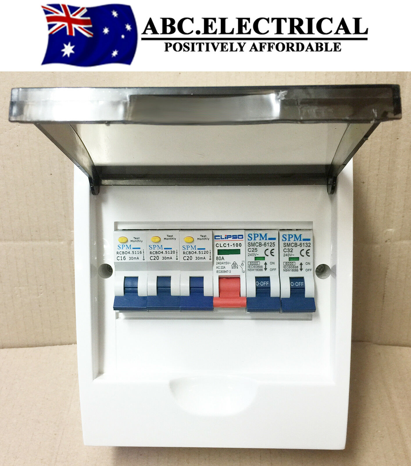 Complete 6 way distribution board mcb rcd rcbo safety main switch 6p