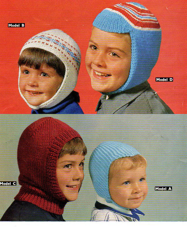 Childs Balaclava Hat Knitting Pattern Vintage 4 Styles Dk Wool