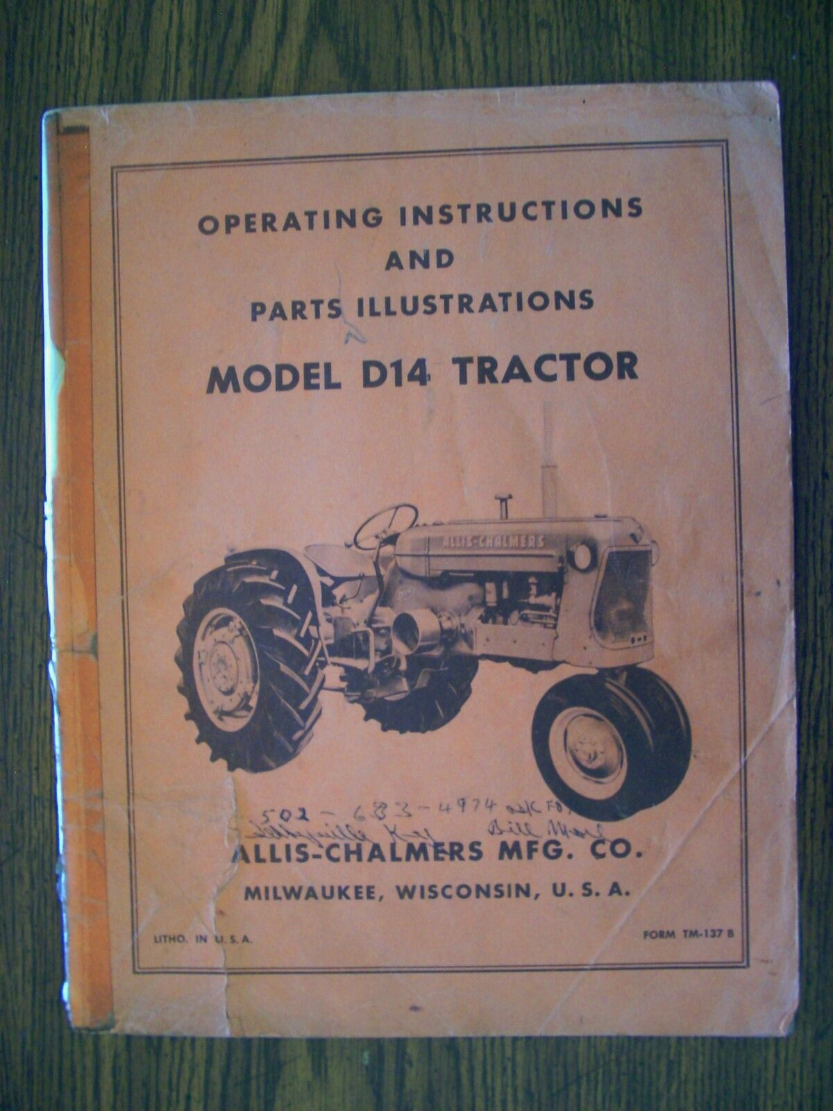 Allis Chalmers D14 Owners and Parts Manual 1 of 1Only 1 available ...
