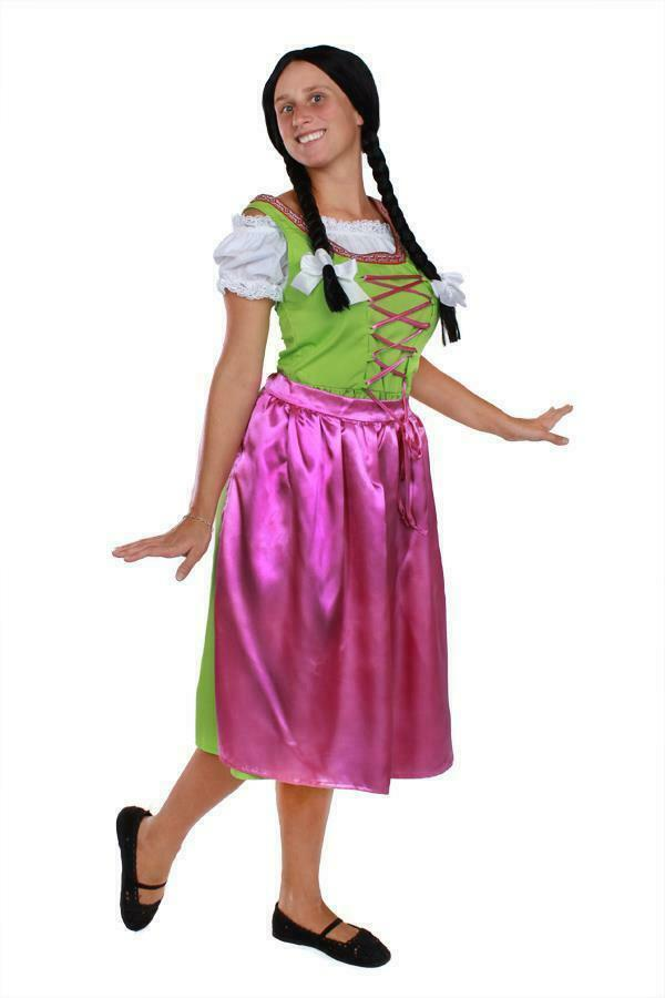 oktoberfest damen trachten kleid pink gr n weiss trachtenkleid dirndl gr l xl. Black Bedroom Furniture Sets. Home Design Ideas