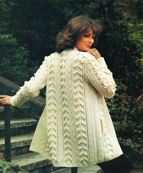 Aran Ladies Knitting Patterns : Lovely ladies Aran coat- knitting pattern- with or without belt- chest 32-40&...