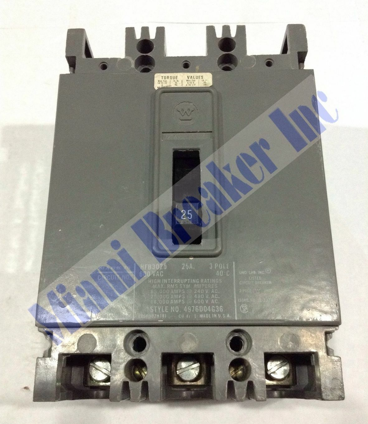 Hfb3025 Westinghouse Type Hfb Circuit Breaker 3 Pole 25 Amp 600v Home Residential Zinsco R38 1 Of 6only Available