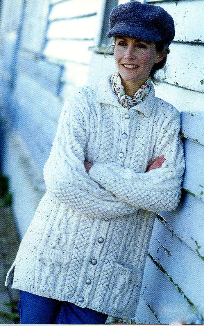 Ladies, Long aran Cardigan knitting Pattern with Pockets fits- 32-42 inch che...