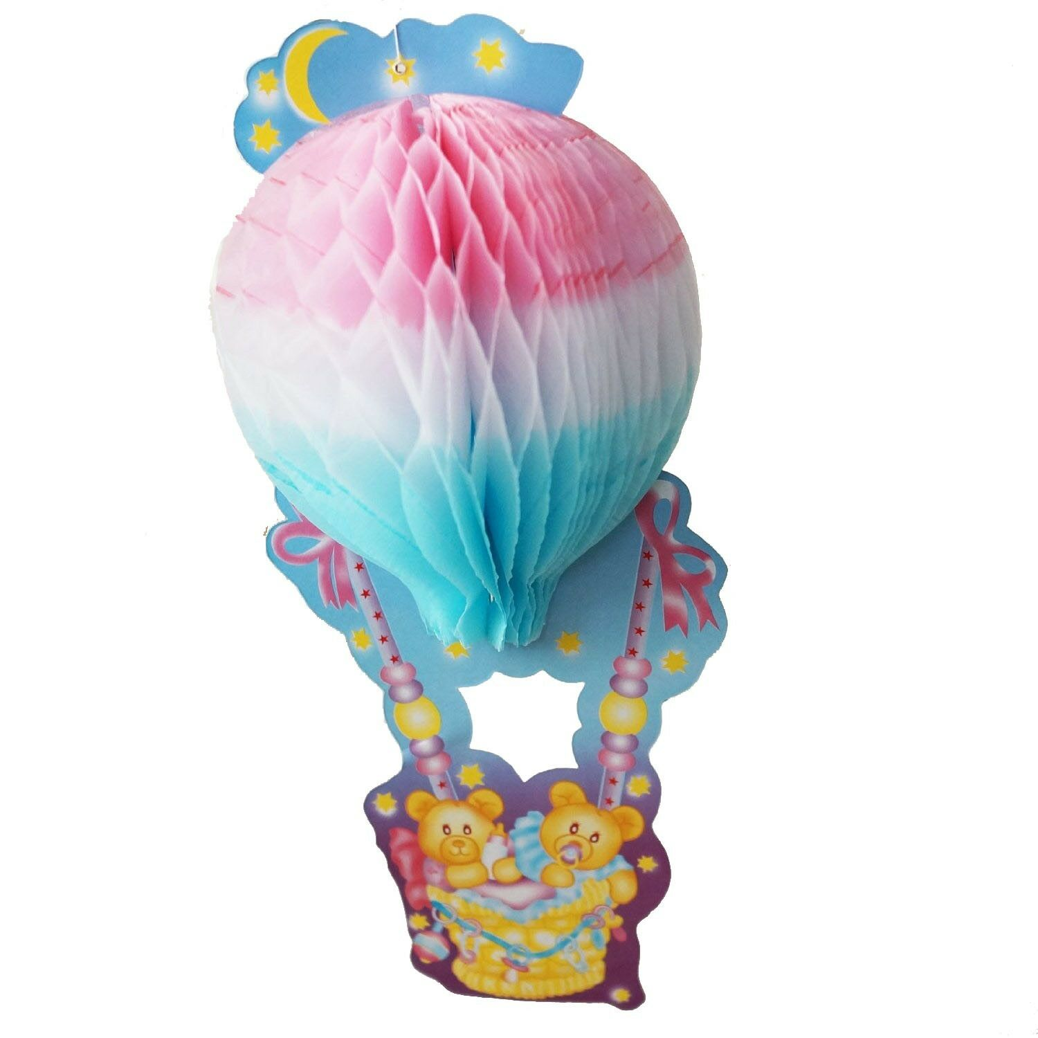 Teddy Bear Baby Shower Centerpiece 3d Honeycomb Hot Air Balloon