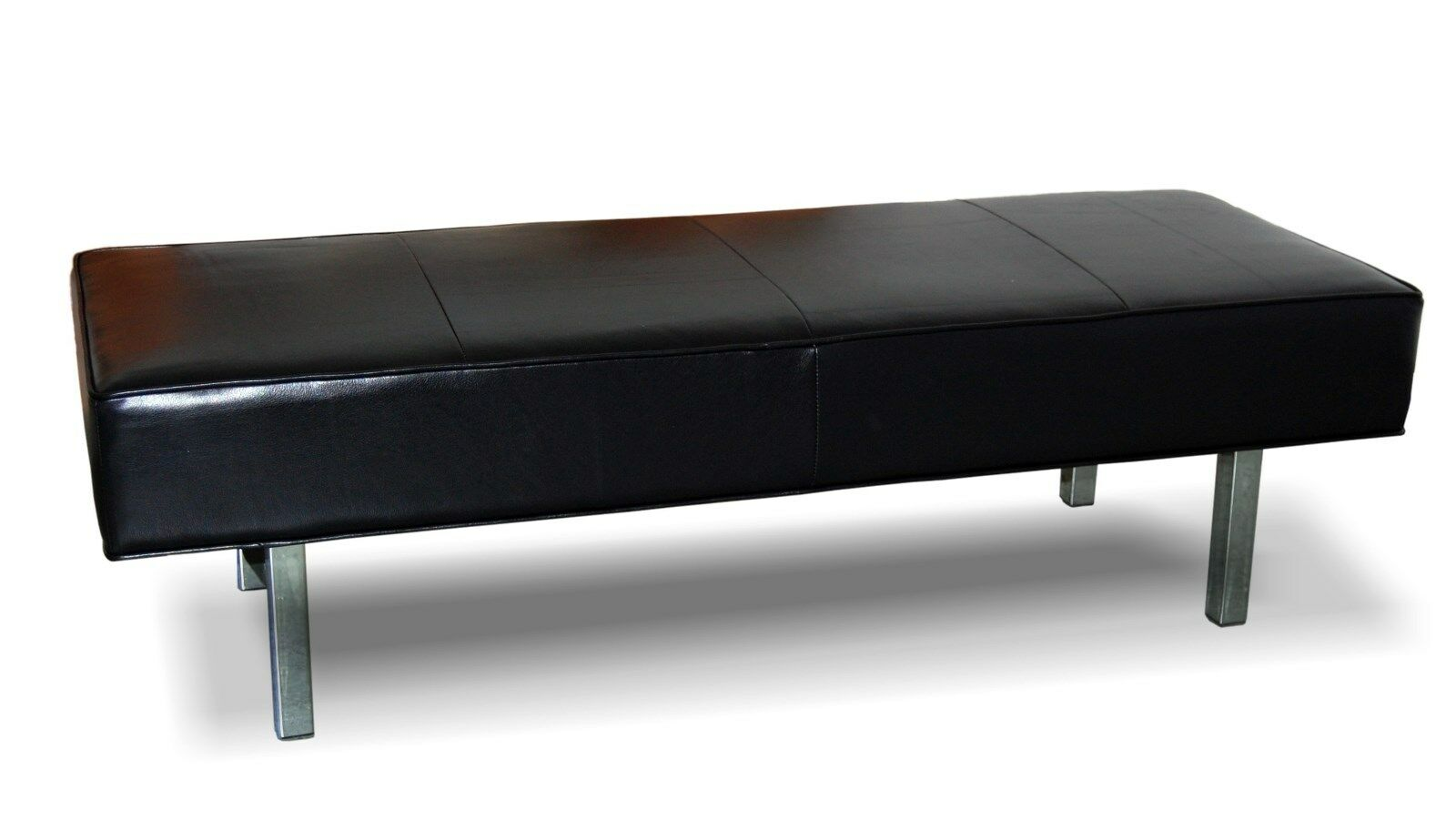Ultra Contemporary Black Genuine Leather Bench Ottoman