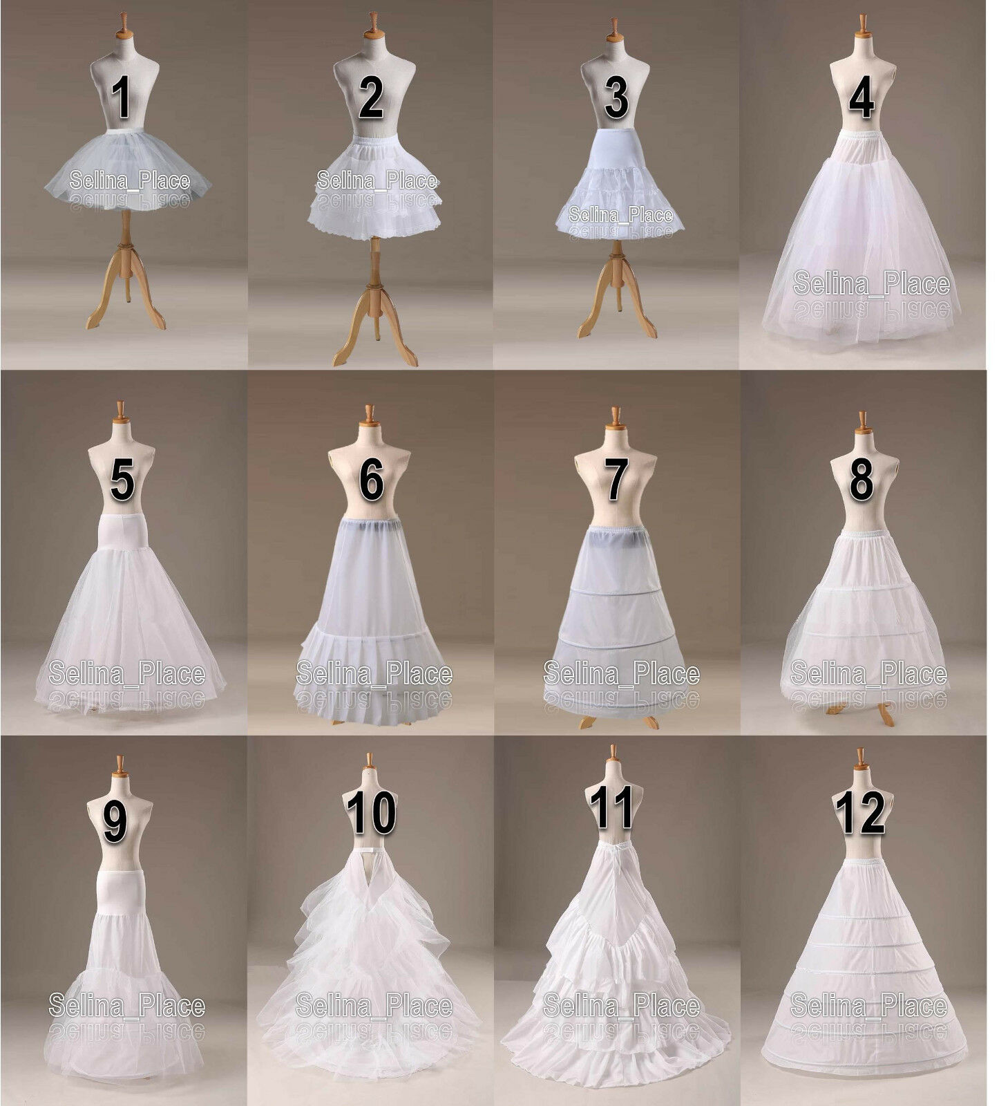 WHITE A LINE/FISHTAIL/MERIMAID Hoop Hoopless Ball Gown Crinoline ...