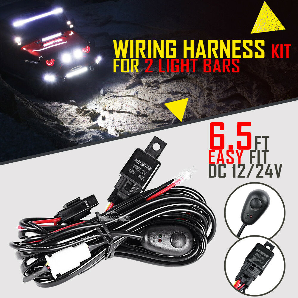 Wiring Harness Kit 24v 40a 12v Switch Relay For Led Work Light Bars Hid Bar 1 Of 9free Shipping