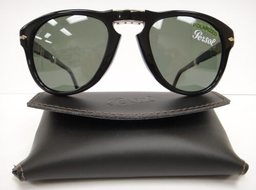 PERSOL 714 SUNGLASSES BLACK Polarized (9558) Steve McQueen Size 52 1 of  8FREE Shipping ... 5839bf2c4ad1