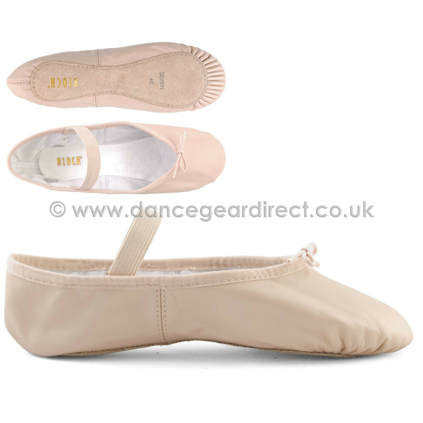 bloch pink leather sole ballet shoes with attached