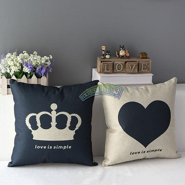 Decor crown heart design home sofa seat lovers pillow case for Crown decorations home