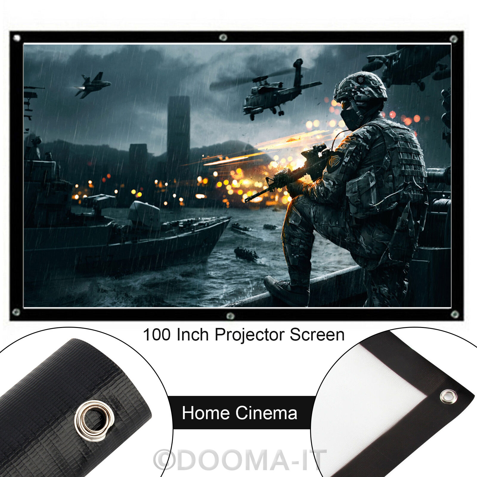 100 Inch White 16 9 Matte Projector Projection Screen Hd