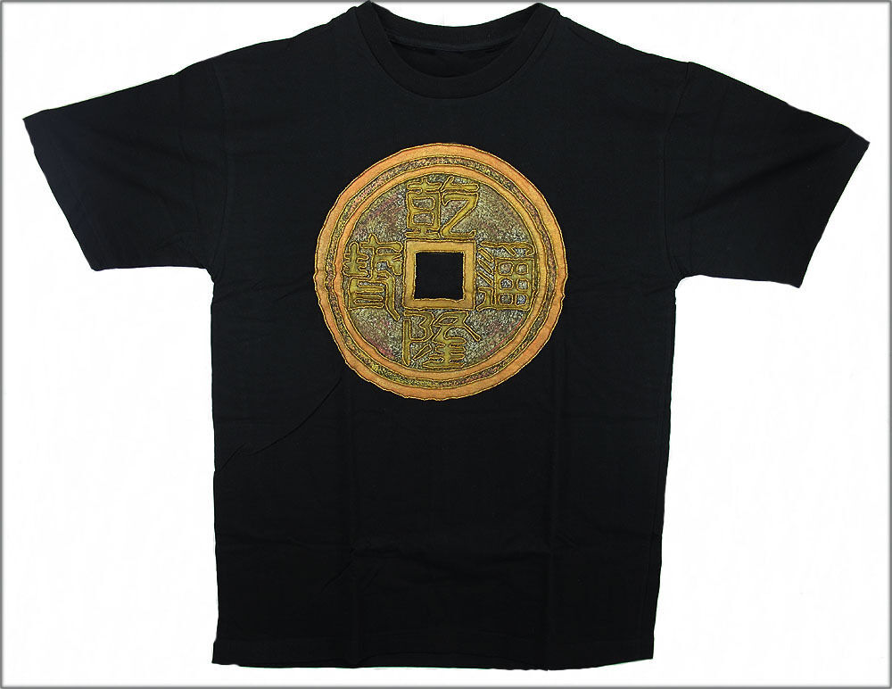 HAND PAINTED & BEADED CHINESE COIN T-SHIRT - Medium [IND1]