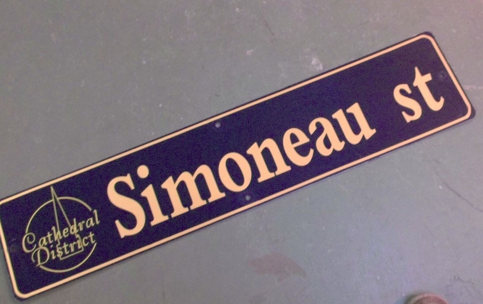 """Vintage SIMONEAU ST Cathedral District Street Sign 42"""" X 9"""" -GOLD on NAVY Ground"""