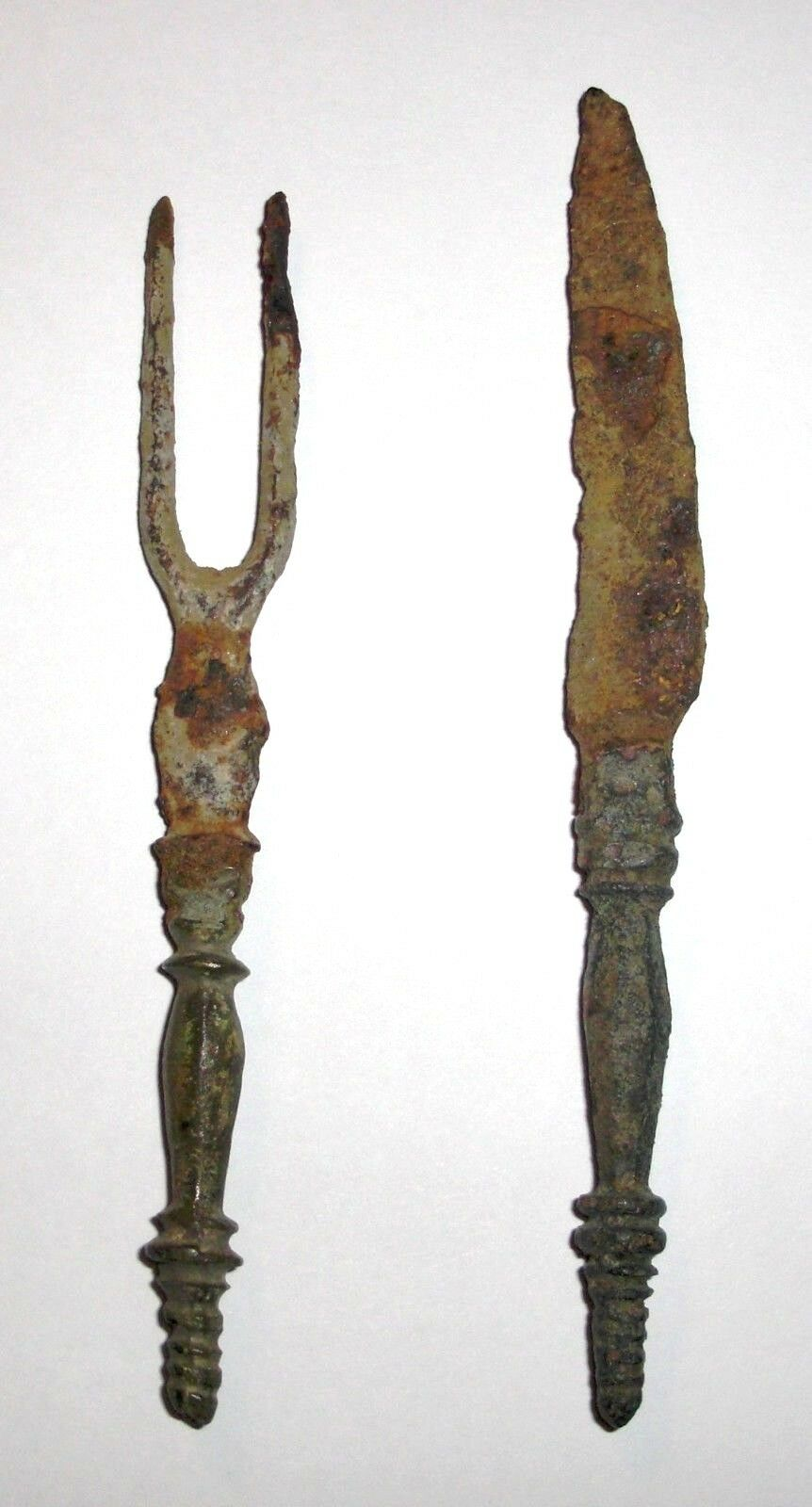 Ancient Roman, Bronze and Iron, 1st - 3rd c. AD. Cutlery Set, Fork and Knife