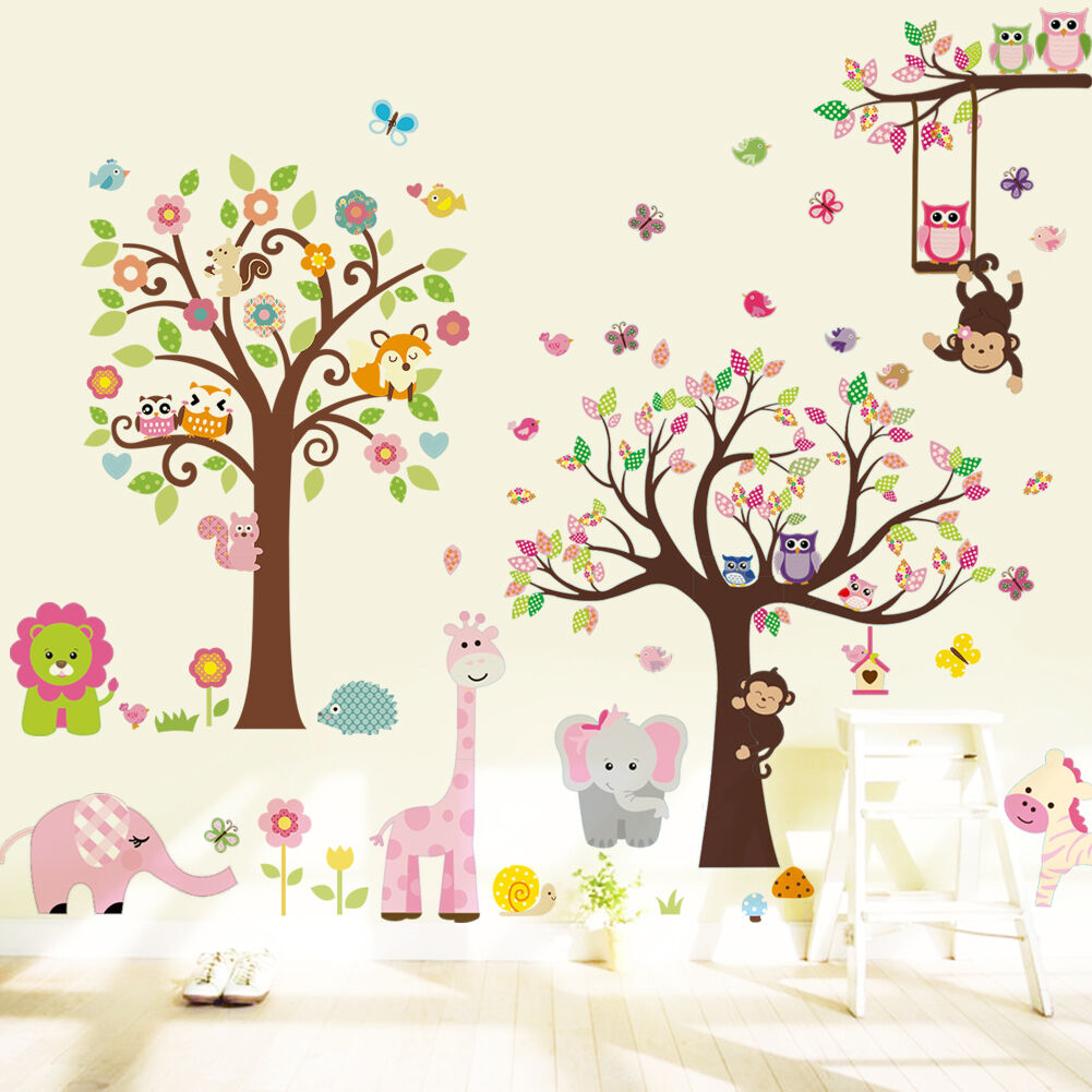 wandtattoo wald sticker tiere zoo spielzimmer kinderzimmer riesig gro xxxxl eur 27 95. Black Bedroom Furniture Sets. Home Design Ideas