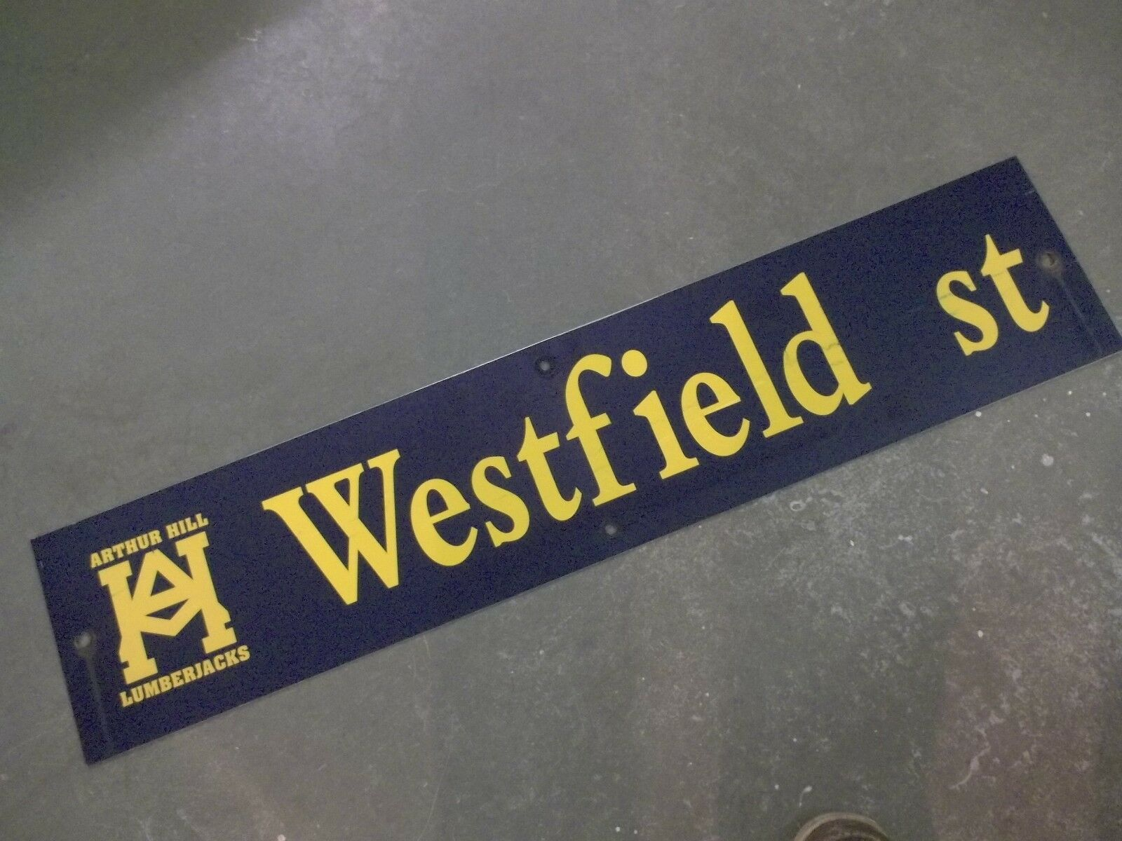 "Vintage ARTHUR HILL / WESTFIELD st STREET SIGN 42"" X 9"" GOLD LETTERING ON BLUE"