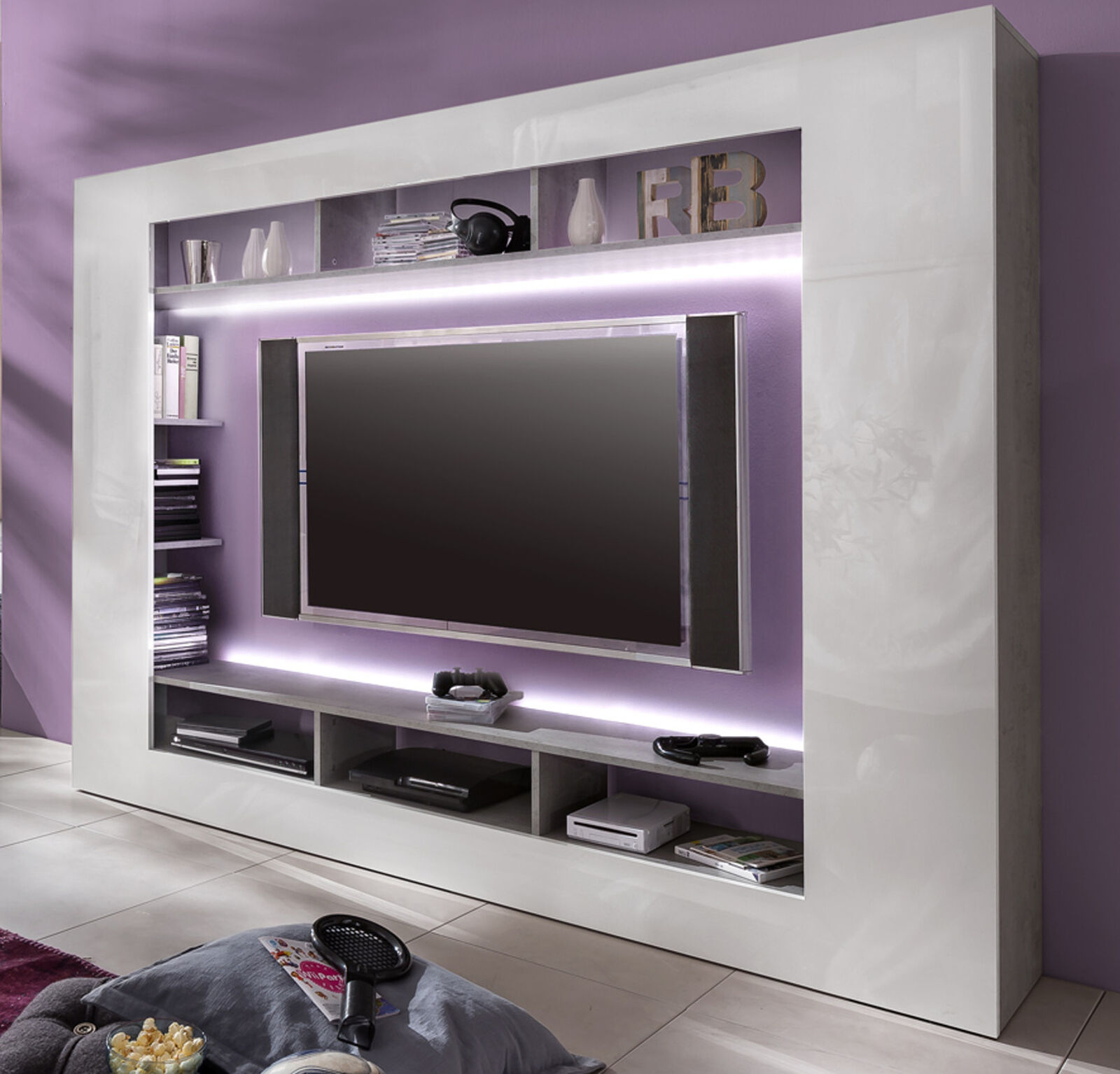 wohnwand medienwand weiss hochglanz beton design fernsehschrank tv hifi speed eur 189 99. Black Bedroom Furniture Sets. Home Design Ideas