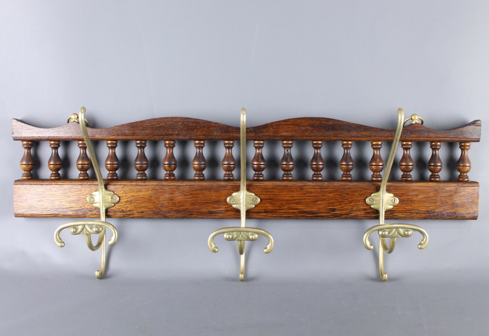Antique French  Brittany Breton  Decorative Wood & brass  Wall  Coat & Hat Rack
