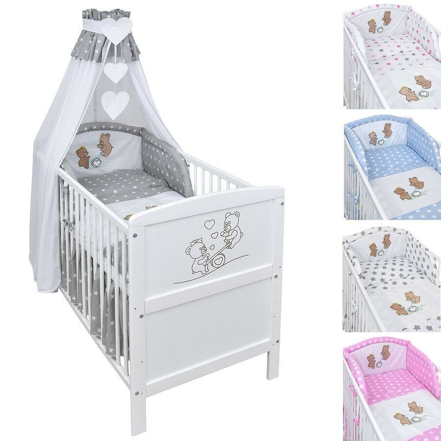 babybett kinderbett juniorbett wippe wei 140x70 bettw sche bettset komplett eur 174 75. Black Bedroom Furniture Sets. Home Design Ideas