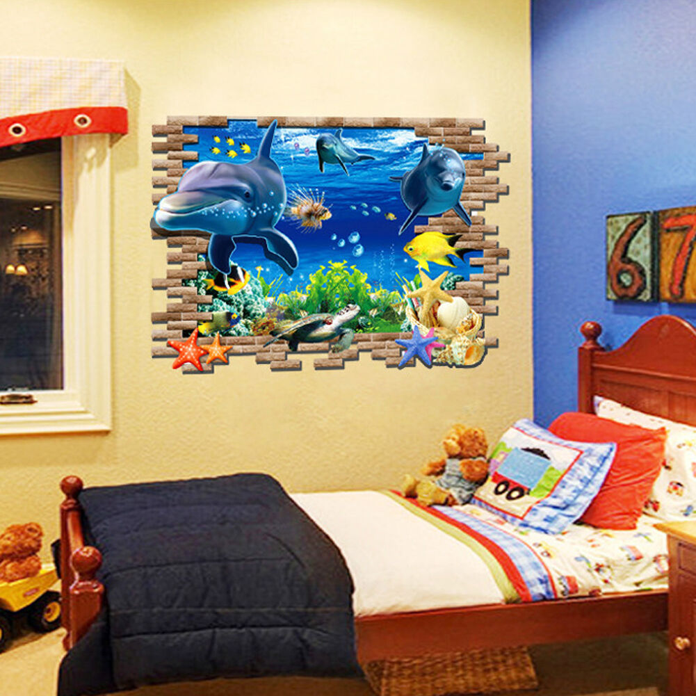 3d wandtattoo wandsticker sticker kinderzimmer meer unterwasserwelt delphin 103 eur 7 45. Black Bedroom Furniture Sets. Home Design Ideas