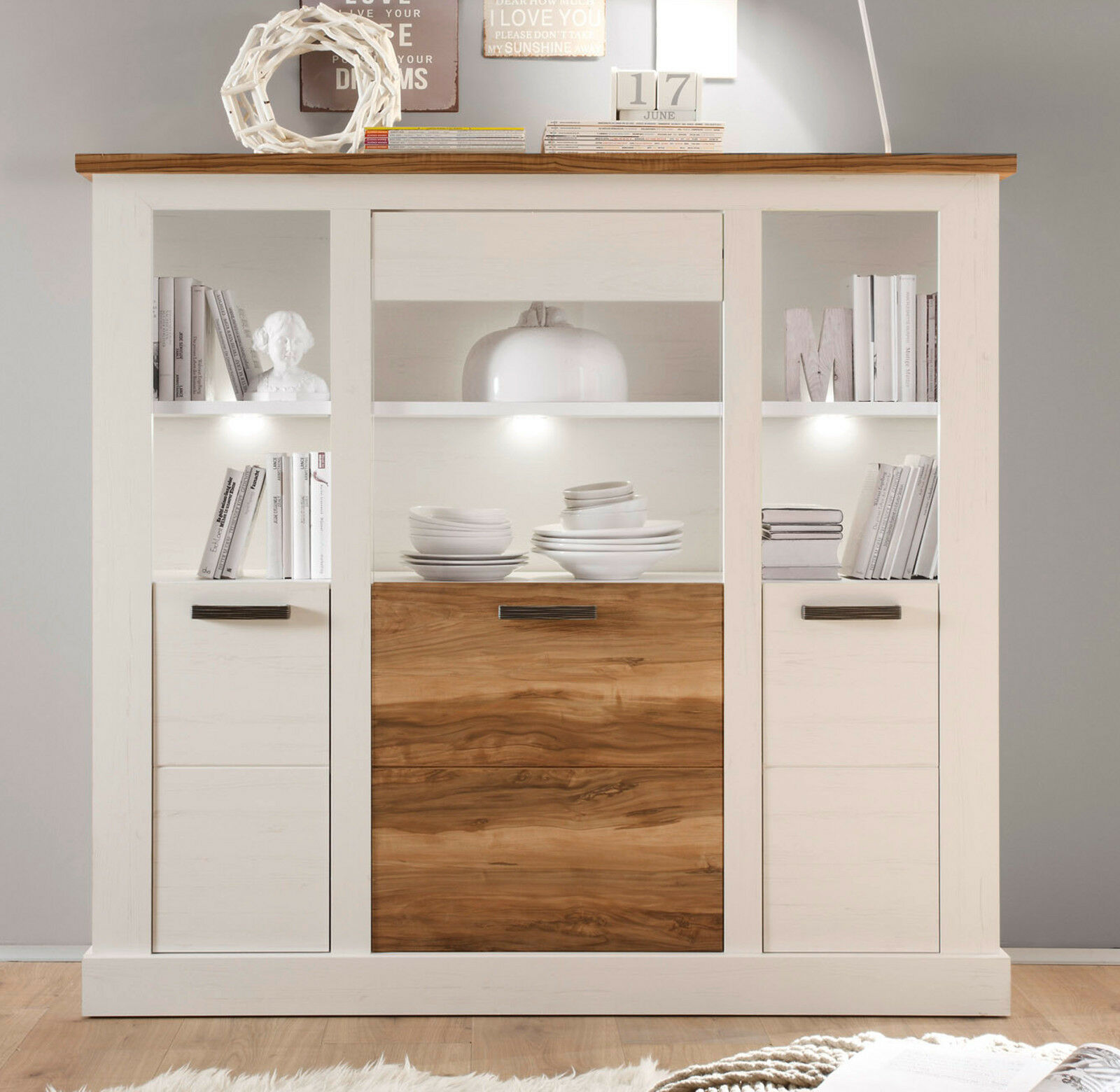 kommode highboard weiss pinie nussbaum satin anrichte. Black Bedroom Furniture Sets. Home Design Ideas