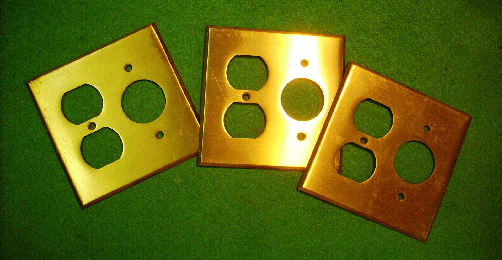 Vintage Brass Receptacle Plate Covers Salvaged From Old Home (3304-K)