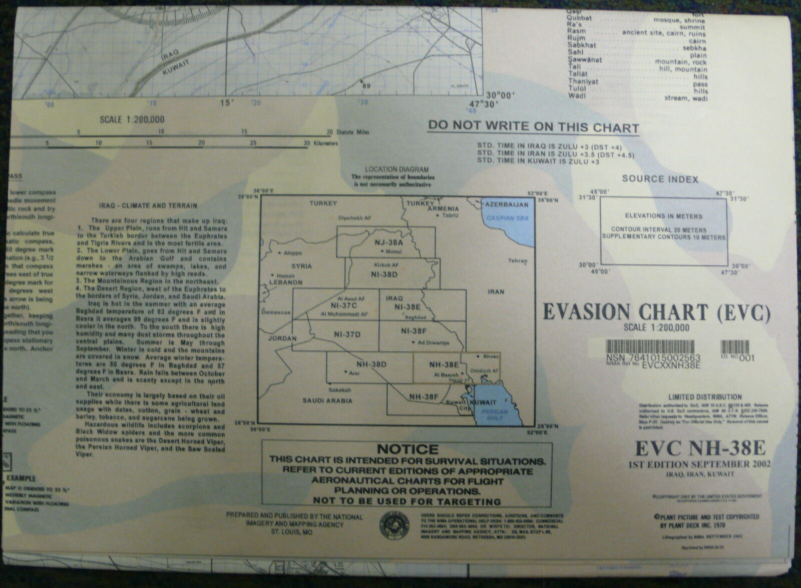 Large Us Military Escape Evasion Chart Map Evc NhE Iraq Iran - Large survival us map