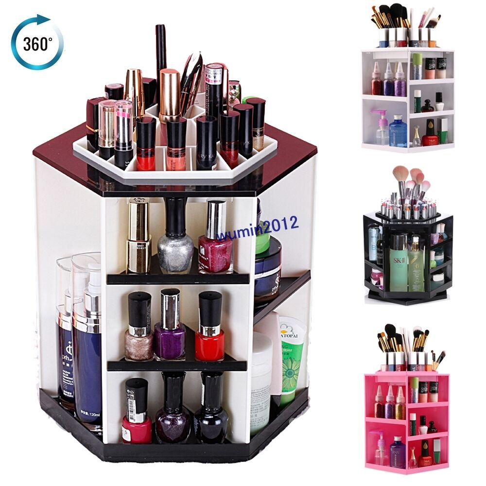 360 degree rotating cosmetic box makeup organizer display. Black Bedroom Furniture Sets. Home Design Ideas