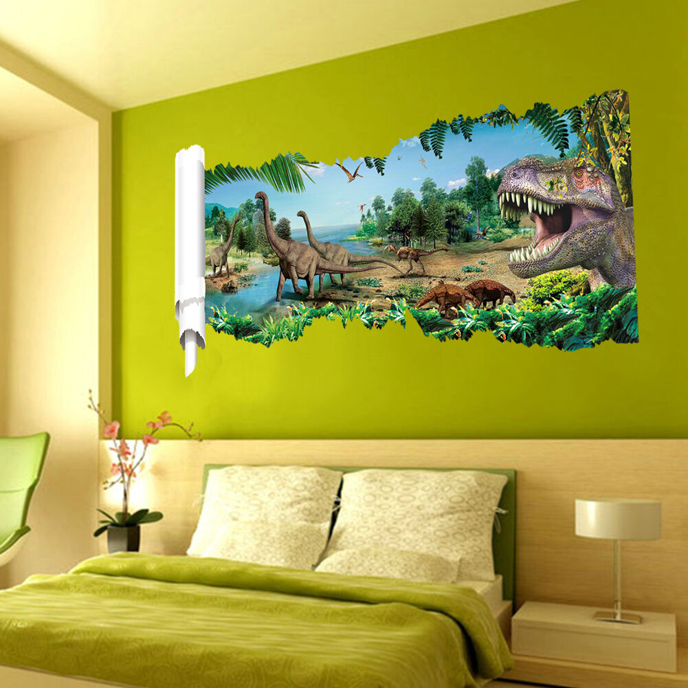 wandtattoo wandbild wandaufkleber kinderzimmer dinosaurier landschaft sticker 3d eur 12 45. Black Bedroom Furniture Sets. Home Design Ideas