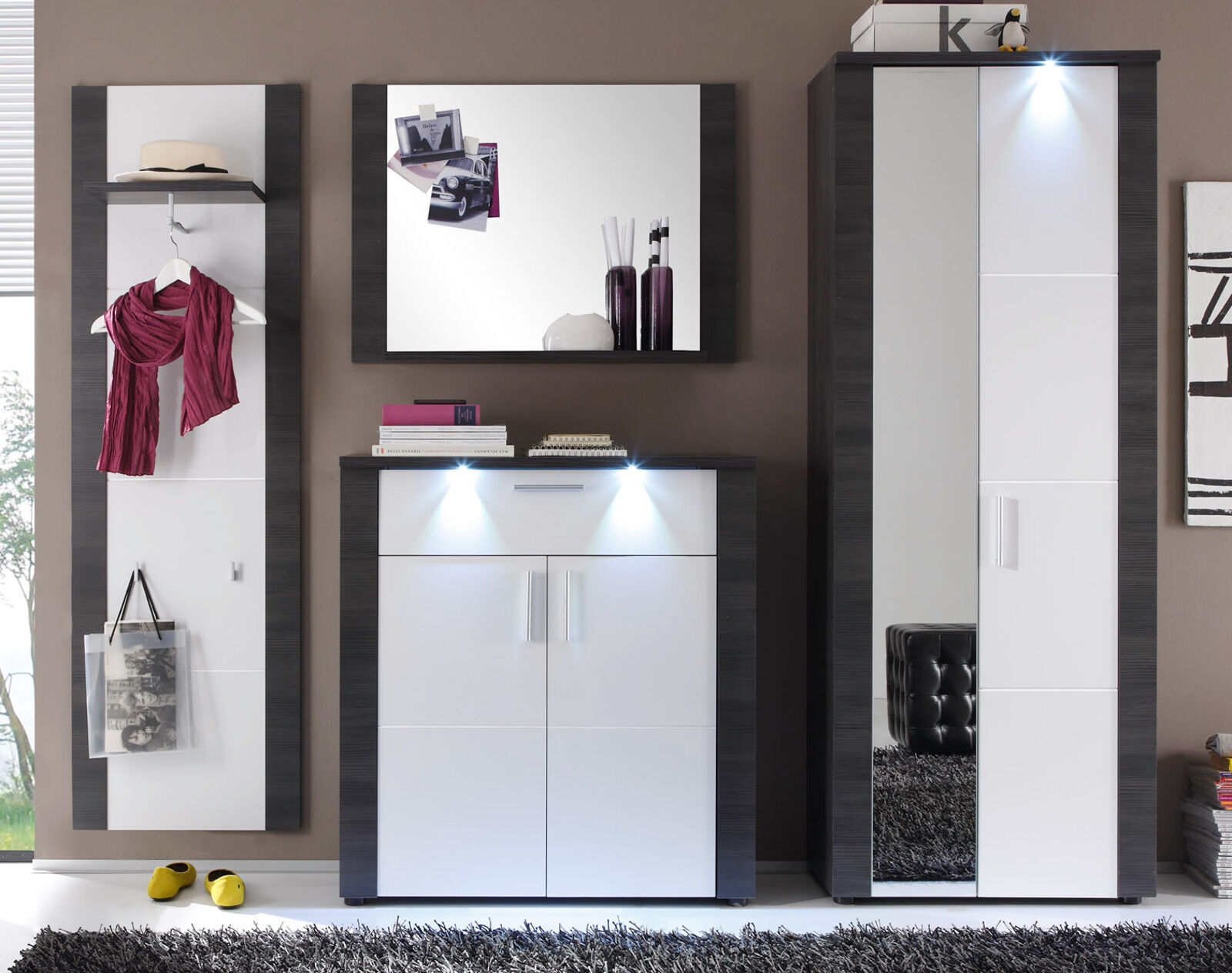 flur garderoben set weiss esche grau garderobe mit led. Black Bedroom Furniture Sets. Home Design Ideas