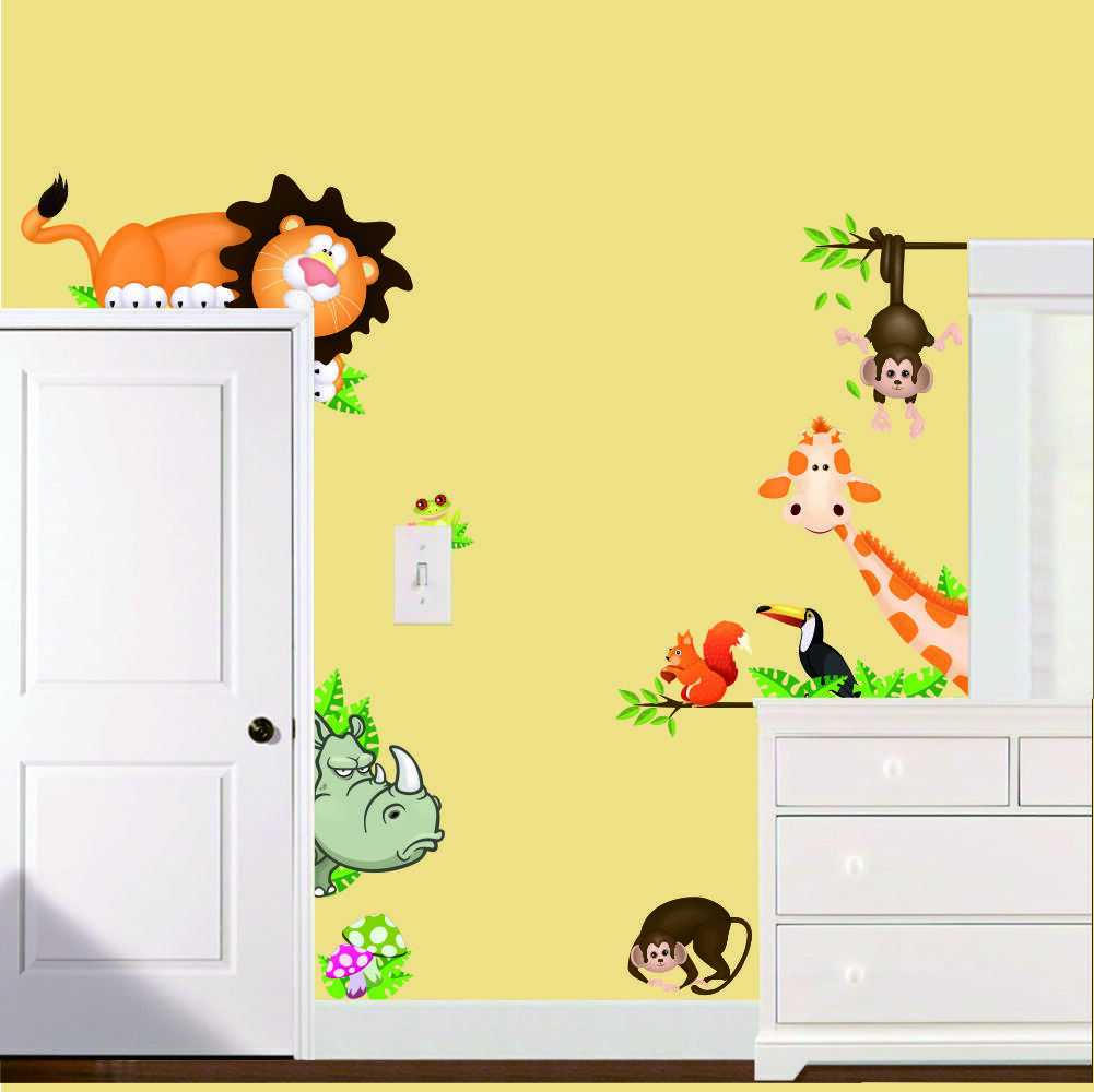 wandtattoo wandsticker aufkleber tiere wald sticker affe baby baum kinder xxl eur 16 99. Black Bedroom Furniture Sets. Home Design Ideas