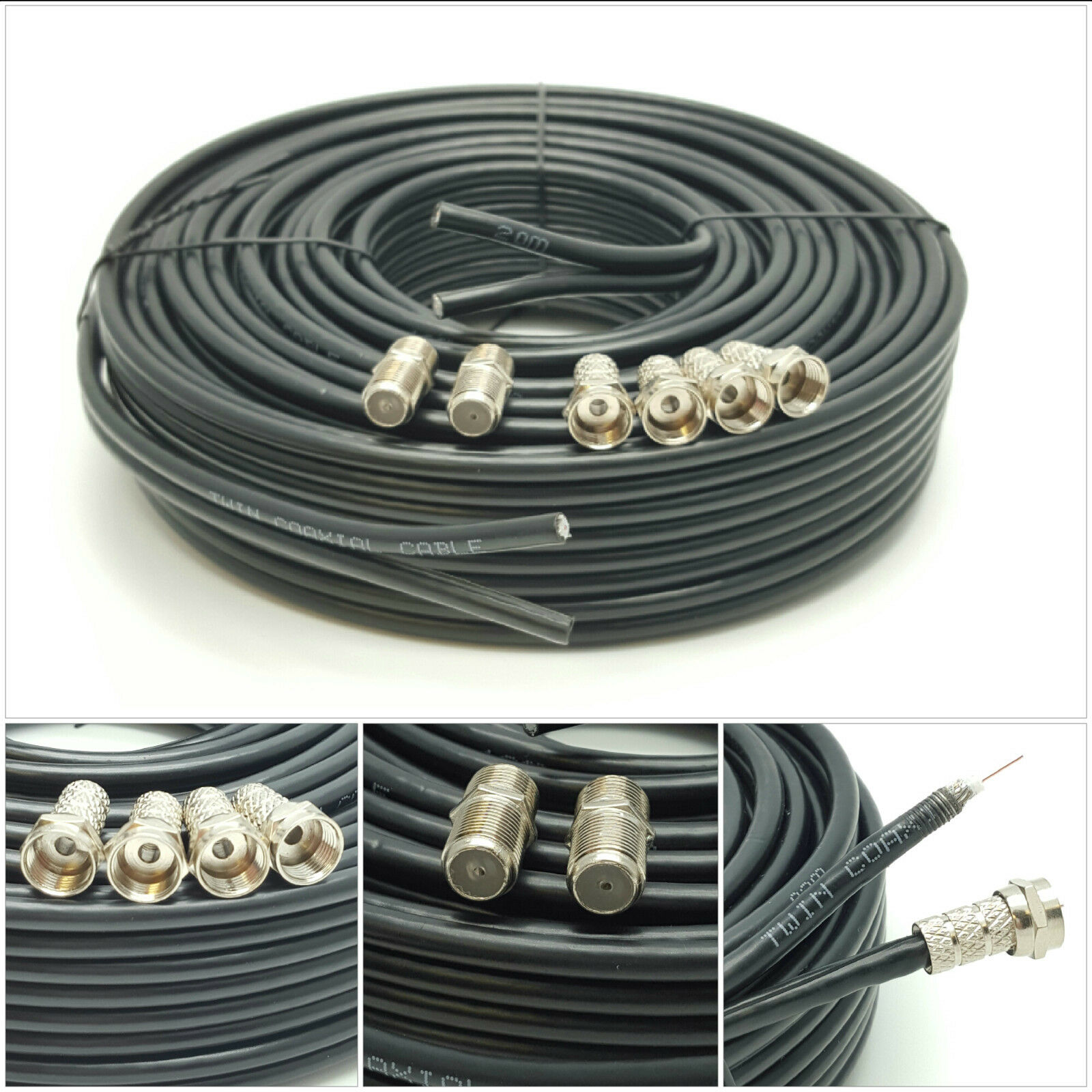 50m black twin satellite shotgun extension coax cable lead. Black Bedroom Furniture Sets. Home Design Ideas