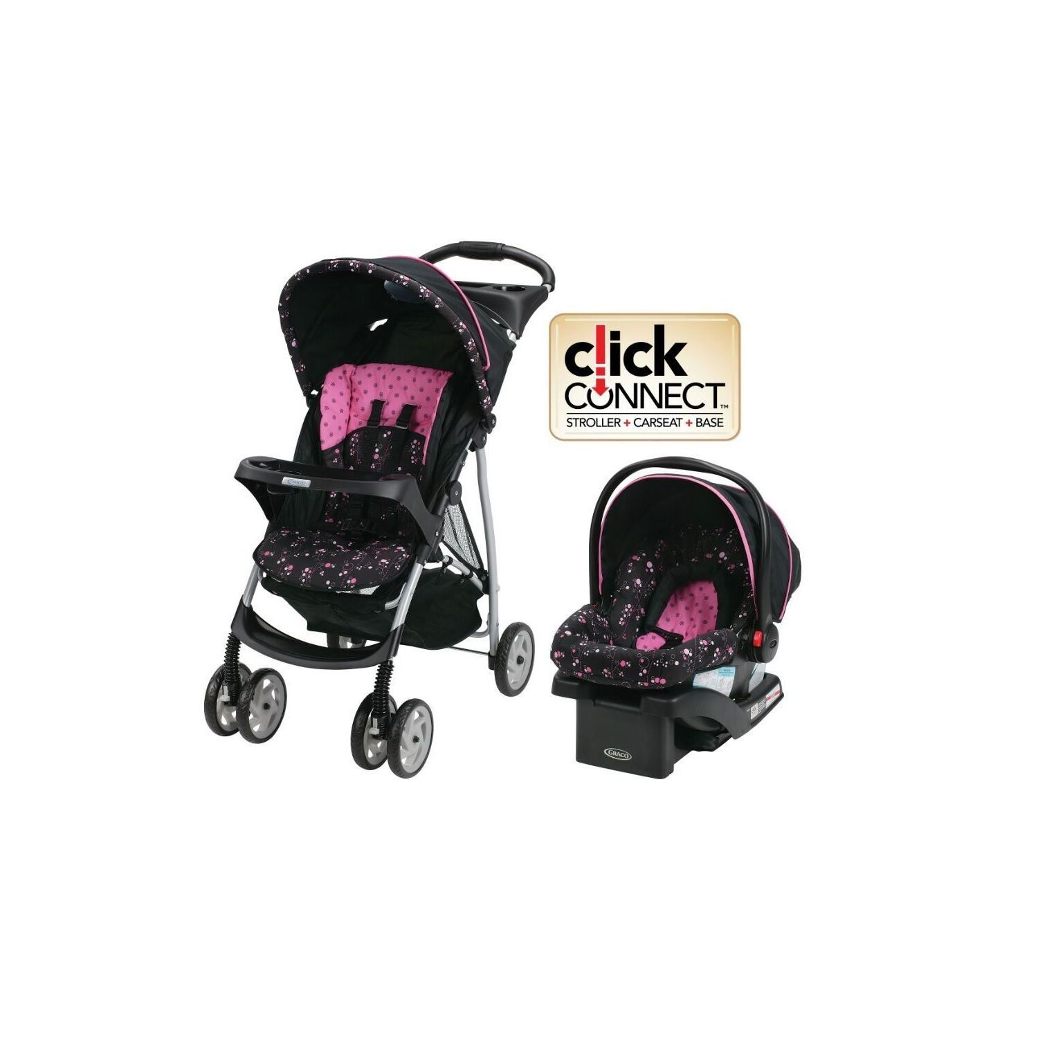 graco baby stroller car seat travel system infant toddler carriage pink picclick. Black Bedroom Furniture Sets. Home Design Ideas