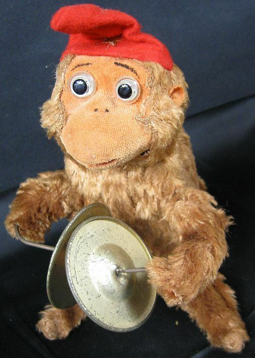 Antique Wind Up Monkey Playing Symbols Mohair With Glass Eyes