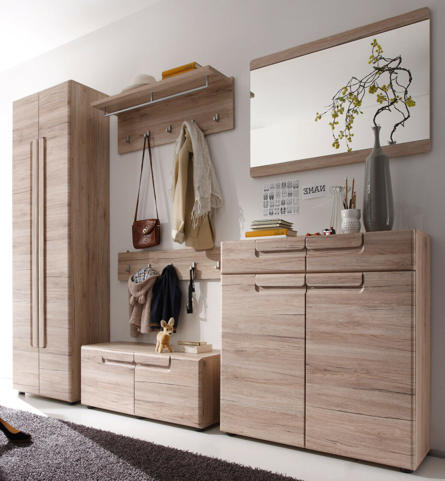 garderoben set flurgarderobe eiche san remo garderobenset mit bank schrank malea eur 679 99. Black Bedroom Furniture Sets. Home Design Ideas