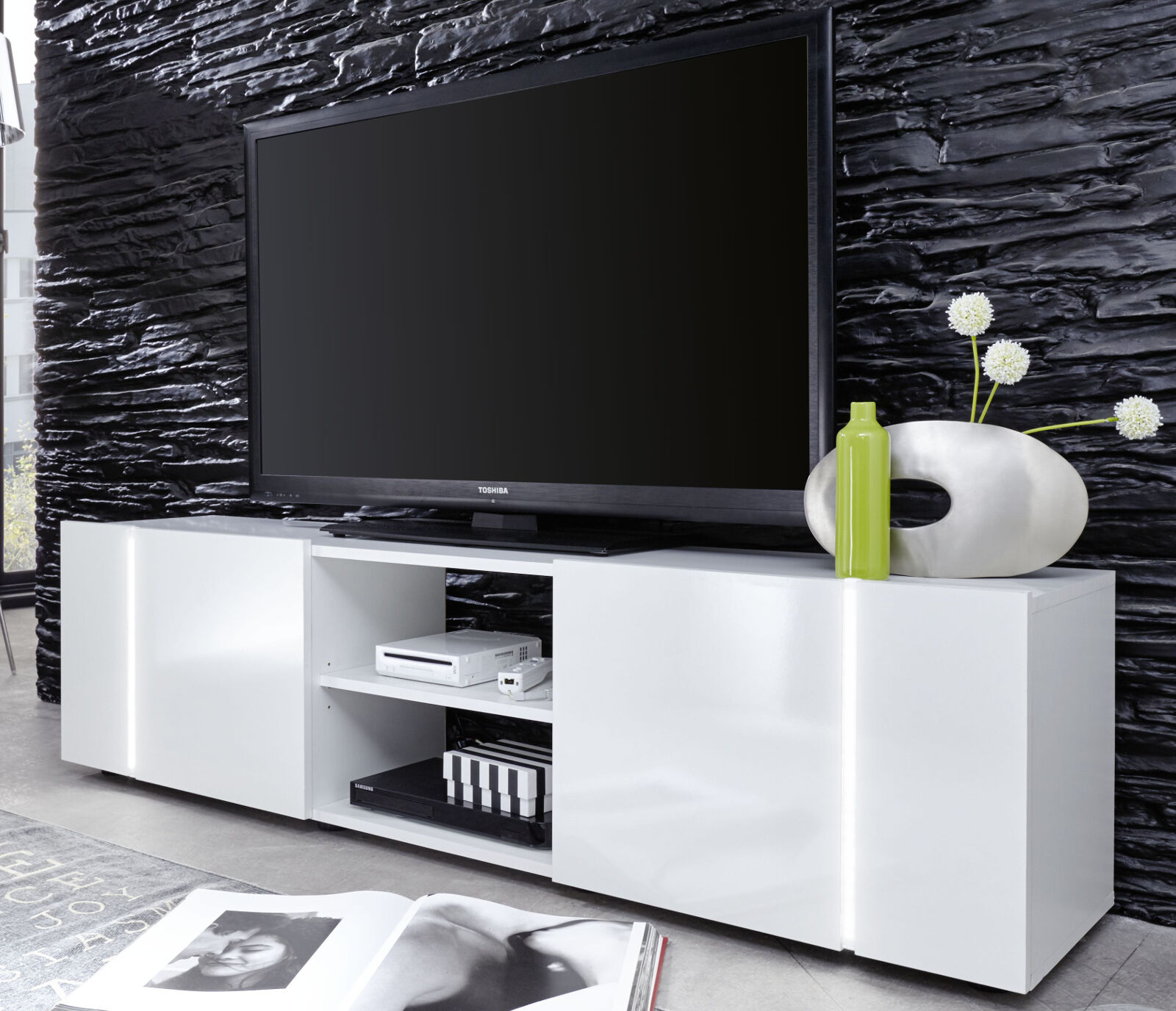 tv tisch lowboard wei glanz rack fernsehtisch hifi bank. Black Bedroom Furniture Sets. Home Design Ideas