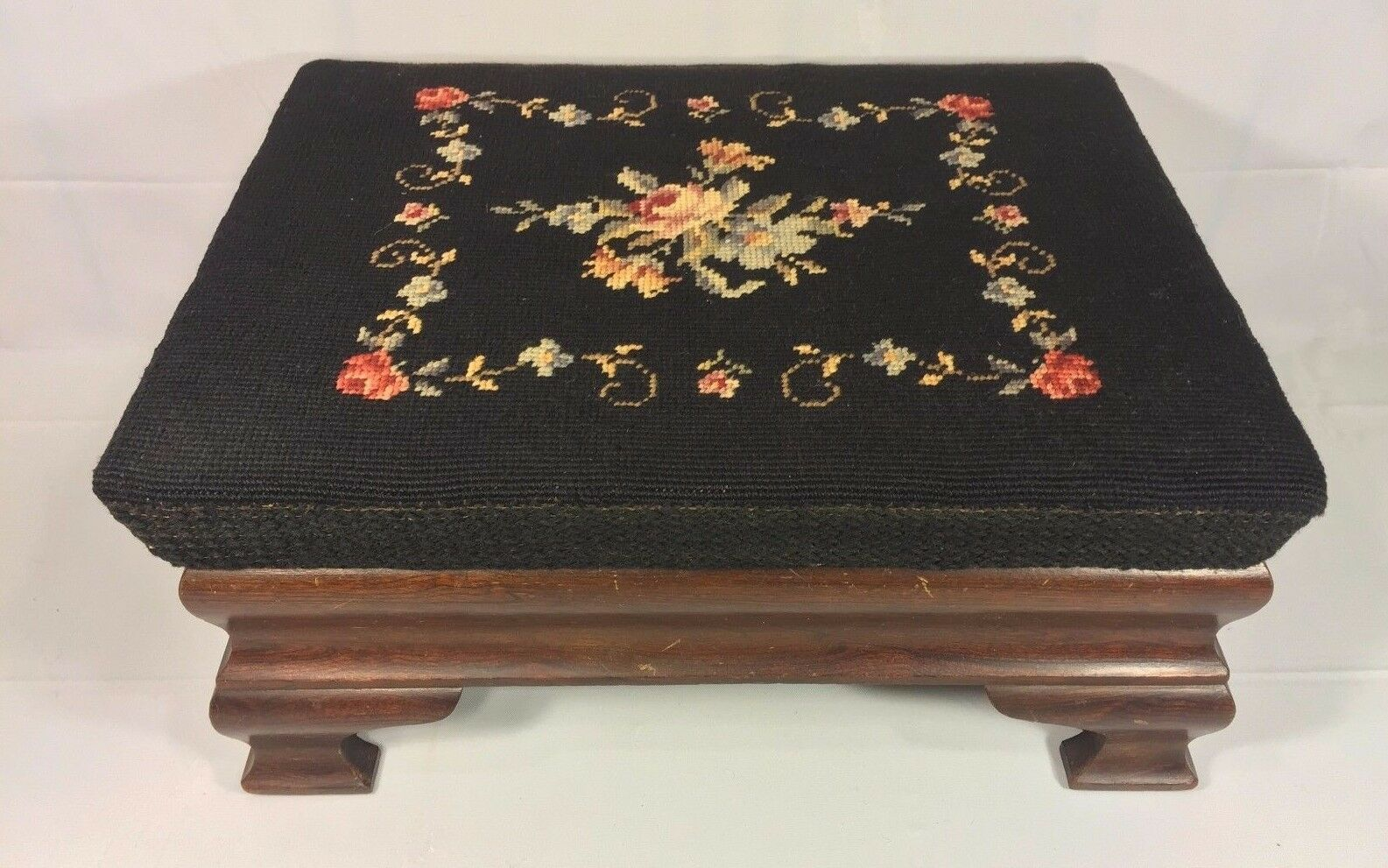 Antique Empire Style Mahogany Footstool w/ Needlepoint Top Nicely Detailed Legs