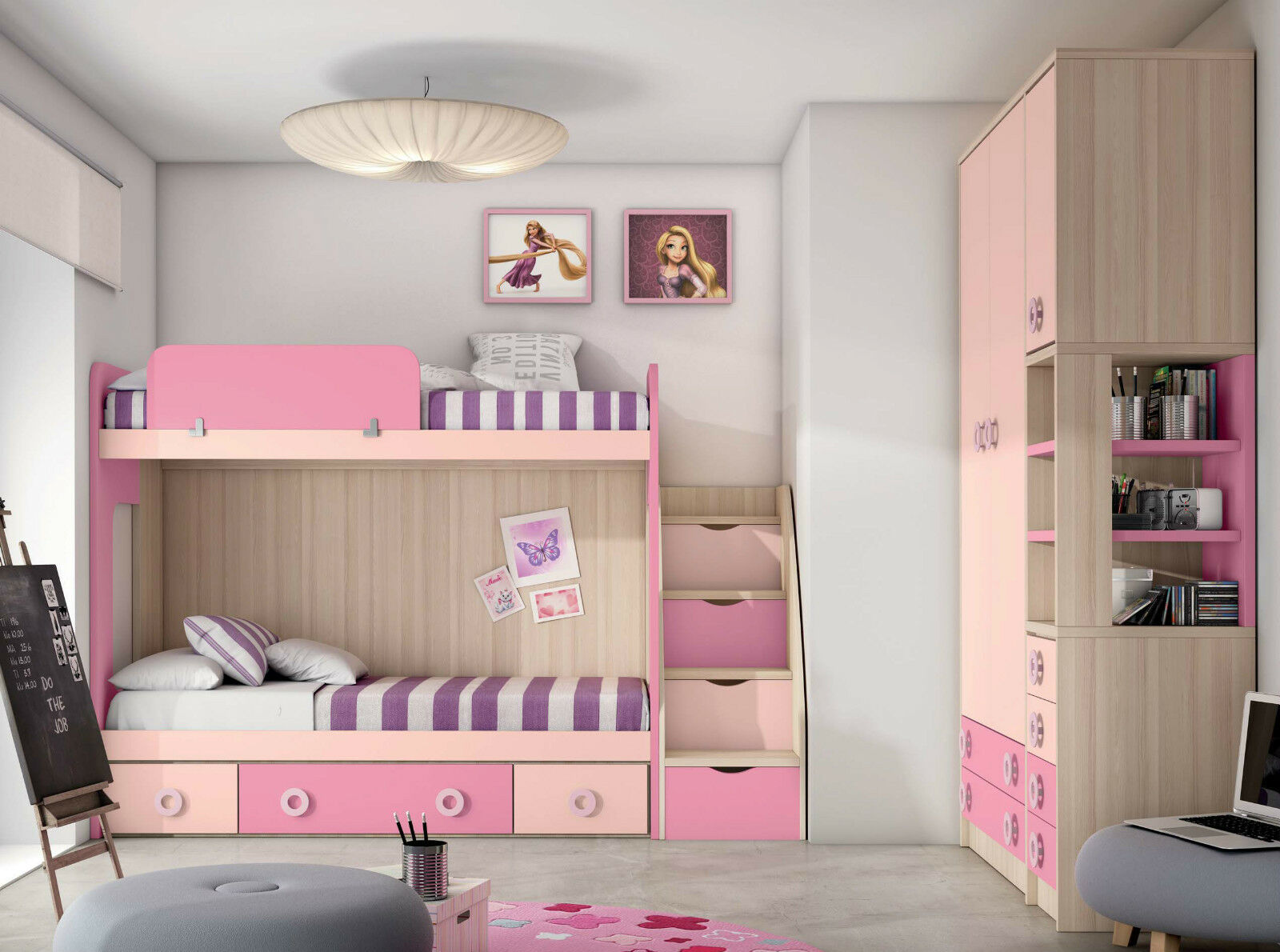 jugendzimmer komplett set mit etagenbett hochbettkombination kinderzimmer m bel eur. Black Bedroom Furniture Sets. Home Design Ideas