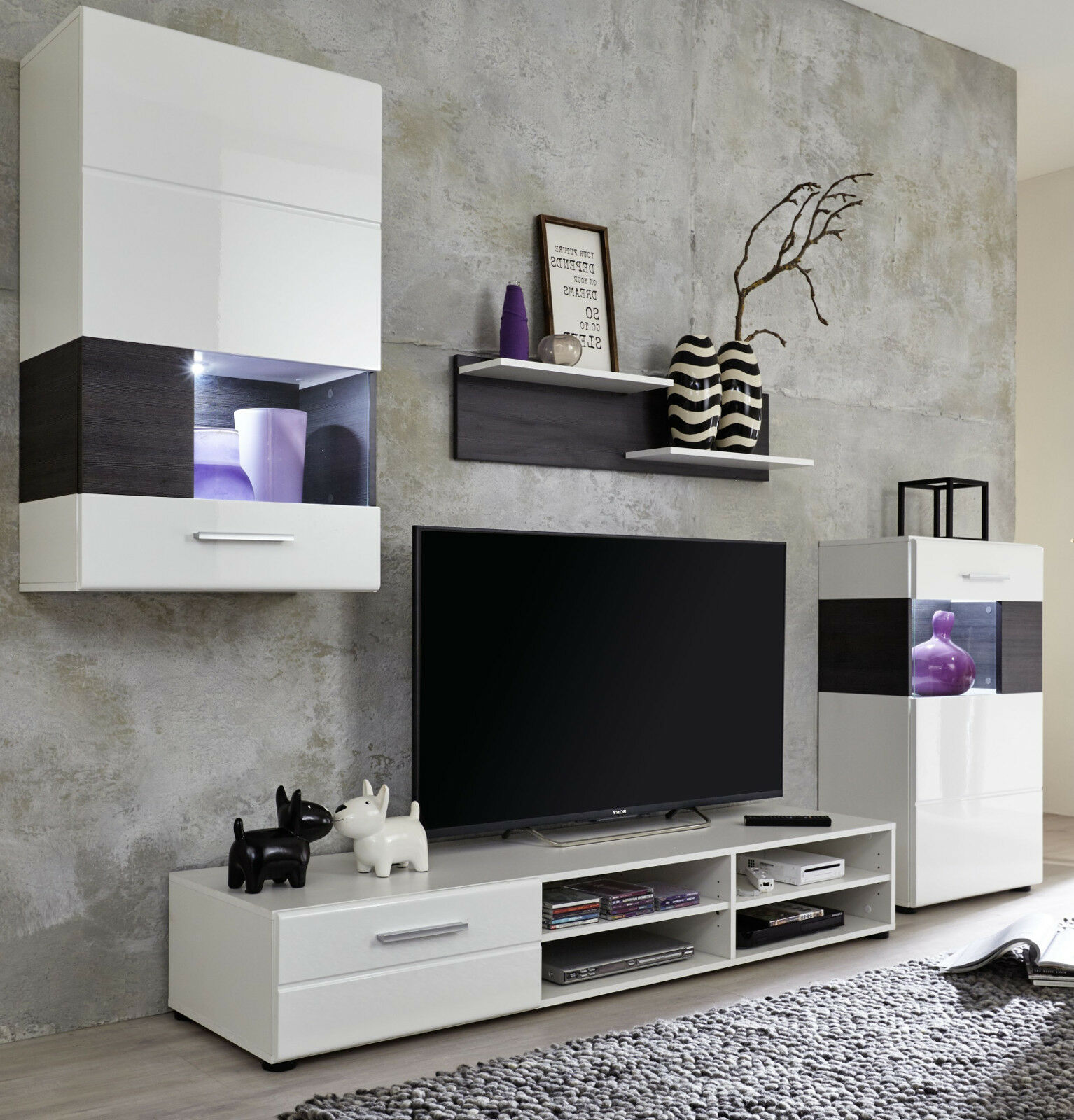 wohnwand schrankwand wei hochglanz pinie braun tv schrank anbauwand rosalie eur 274 99. Black Bedroom Furniture Sets. Home Design Ideas
